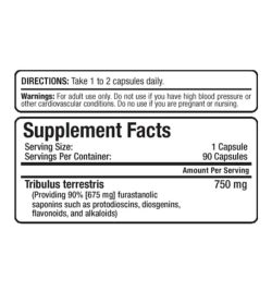 Supplement facts panel of Allmax Tribx 90 for serving size of 1 capsule with 90 servings per container