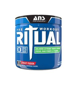 Shiny blue container with blue cap of ANS Performance Pre-Workout Ritual with Fruit Fusion flavour contains 30 servings