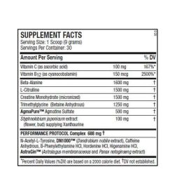 Supplement facts panel of ANS Performance ANS Ritual for a serving size of 1 scoop (9 g) with 30 servings per container