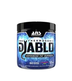 Black container with blue label of ANS Performance Pro Thermogenic Djablo Advanced fat burner contains 60 serving portions
