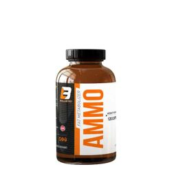 brown bottle of Ballistic Labs Ammo thermogenic fat burner with black lid bold orange Ammo text fat burning product