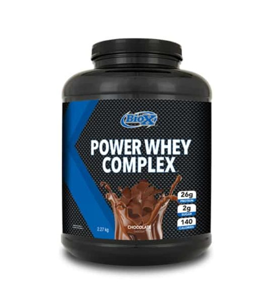 Black and blue container with black cap of BioX Power Whey Complex with Chocolate flavour contains 2.27 kg 5 lbs