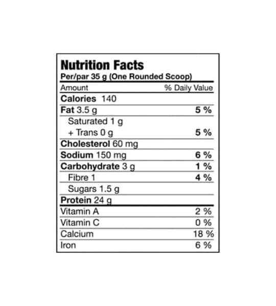 Nutrition facts panel of BioX Power Whey Complex for a serving size of 1 rounded scoop (35 g)