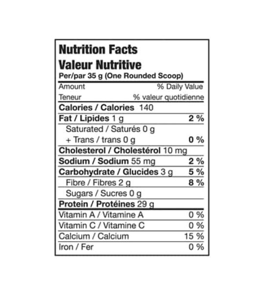 Nutrition facts panel of Bio-x Power Whey Isolate for a serving size of 1 rounded scoop 35 g