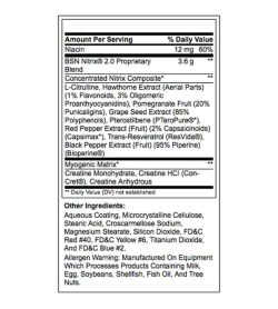 Nutrition facts and ingredients panel of BSN Nitrix-2-0 shown in black text in white background