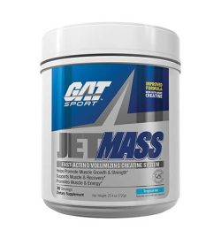 Silver and blue container with white cap of GAT Sport Jet MASS fast-acting volumizing creatine system contains 30 servings