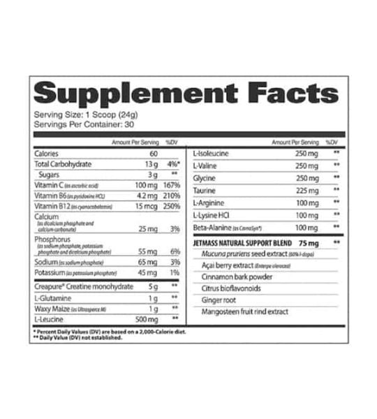 Supplement facts panel of GAT Sport Jet Mass for a serving size of 1 scoop (24 g) with 30 servings per container