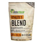 Light brown and orange bag of Ironvegan Athlete's Blend organic, non-gmo proteins with natural vanilla flavour contains 1 kg