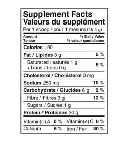 Supplement facts panel of Ironvegan Athletes Blend for serving size of 1 scoop (46.4 g)