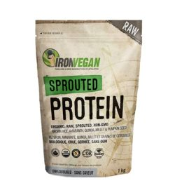 Light brown and green bag of Ironvegan Sprouted Protein organic, raw, sprouted, non-gmo unflavoured contains 1 kg