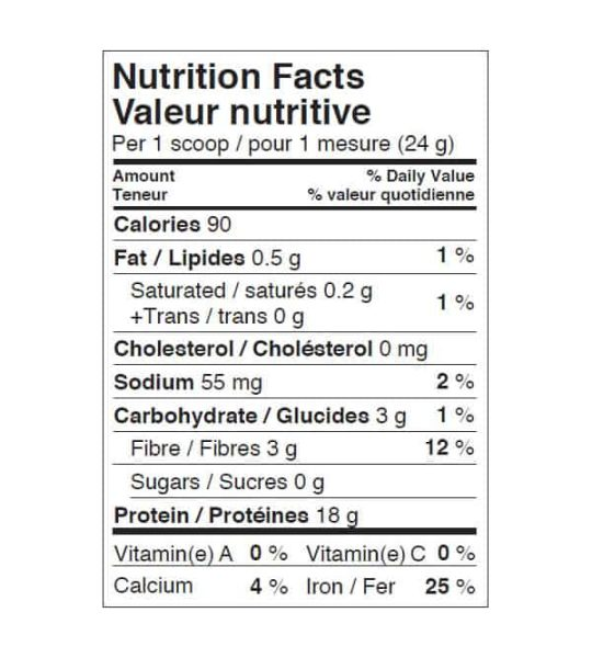Nutrition facts panel of Ironvegan Sprouted Protein for serving size of 1 scoop (24 g)