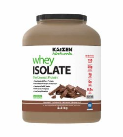 Light brown container with white label of Kaizen Naturals Whey Isolate The cleanest protein with Decadent Chocolate flavour contains 2.3 kg