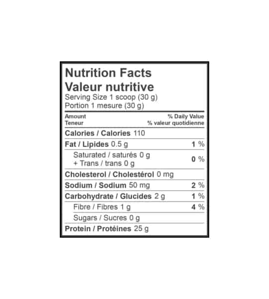 Nutrition facts panel of Kaizen Naturals Whey Protein for serving size of 1 scoop (30 g) showing black text in white background