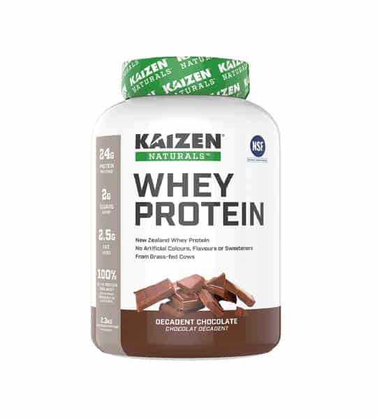 White and brown container with green lid of Kaizen Naturals Whey Protein with Decadent chocolate flavour