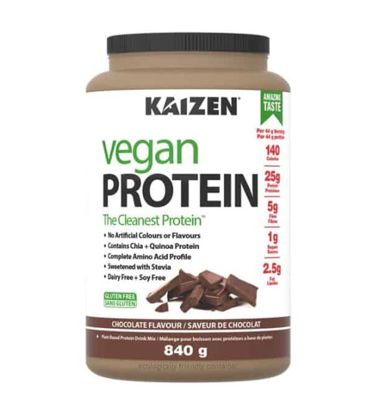 Light brown container with white label of Kaizen Vegan Protein The Cleanest Protein with Chocolate flavour contains 840g