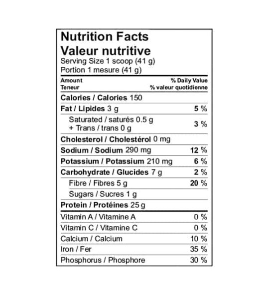 Nutrition facts panel of Kaizen Vegan Protein 840g for serving size of 1 scoop (41 g)