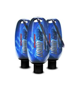 3 blue bottles with black cap of Liquid Grip For weight lifters shown in white background