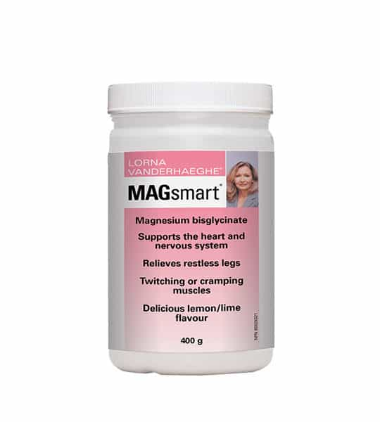 White container with pink label of Lorna Vanderhaeghe Magsmart Supports the heart and nervous system, relieves restless legs contains 400g
