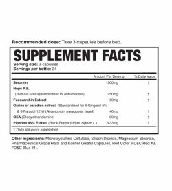 Supplement facts and ingredients panel of Magnum After Burner for a serving size of 3 capsules with 24 servings per bottle