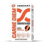 White and orange box of Magnum Carne Diem Pharmaceutical Grade Carnitine Burner dietary supplement contains 96 orange capsules
