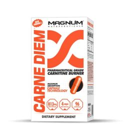 White and orange box of Magnum Carne Diem Pharmaceutical Grade Carnitine Burner dietary supplement contains 96 orange capsules