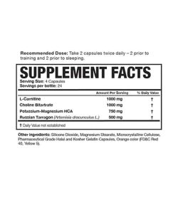 Supplement facts and ingredient panel of Magnum Carne Diem for serving size of 4 capsules containing 24 servings per bottle