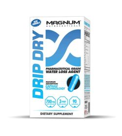 White and blue box of Magnum Drip Dry Pharmaceutical Grade Water Loss Agent dietary supplement contains 90 capsules