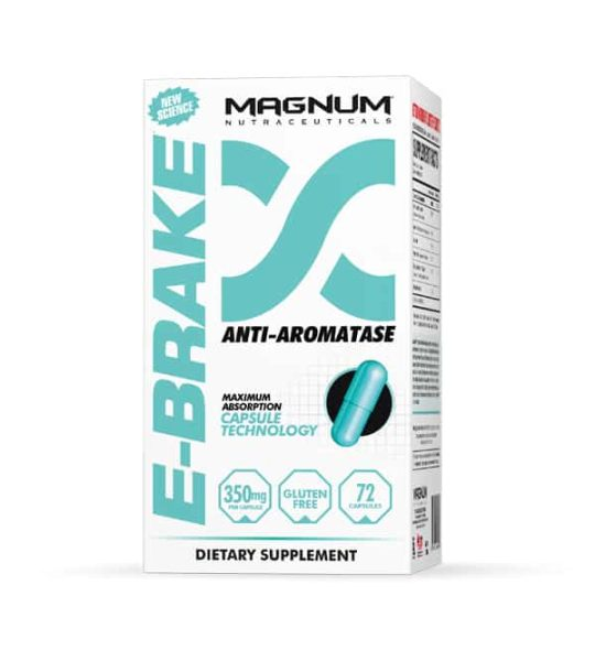 White and blue box of Magnum E-Brake Anti-Aromatase dietary supplement contains 72 blue capsules