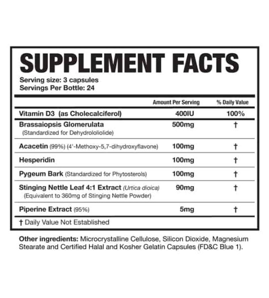 Supplement facts and ingredients panel of Magnum E-Brake for serving size of 3 capsules with 24 servings per bottle
