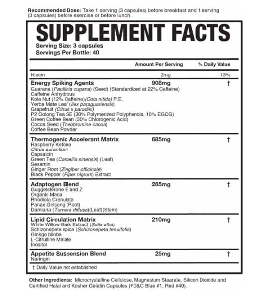 Supplement facts an ingredients panel of Magnum Heat Accelerated for serving size of 3 capsules with 40 servings per container