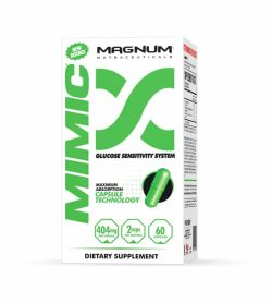White and green box of Magnum Mimic Glucose Sensitivity System 404 mg dietary supplement contains 60 capsules