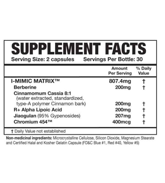 Supplement facts and ingredients panel of Magnum Mimic for serving size of 2 capsules with 30 servings per bottle