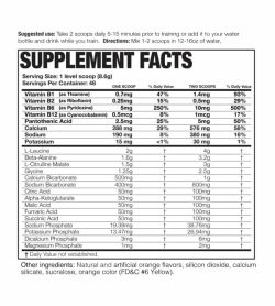 Supplement facts and ingredients panel of Magnum Opus for serving size of 1 level scoop (8.6 g) with 48 servings per container