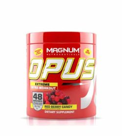Red container with red cap of Magnum Nutraceuticals OPUS Extreme Intra-Workout with Red berry candy flavour
