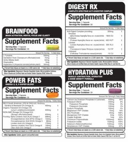 Supplement facts and ingredients panels of 4 different flavour Magnum Primer dietary supplement capsules