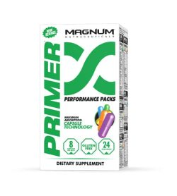 White and green box with Magnum Primer Performance Packs Maximum Absorption Capsule Technology dietary supplement