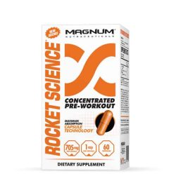 White with orange box of Magnum Rocket Science Concentrated Pre-Workout contains 60 capsules of 705 mg