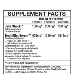 Supplement facts and ingredients panel of Magnum Rocket Science for serving size of 1, 2 and 3 capsules