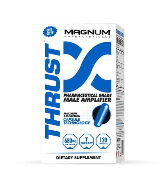 White and blue container of Magnum Thrust Maximum Absorption Capsule Technology 680 mg contains 120 capsules