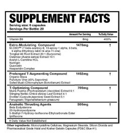 Supplement facts and ingredients panel of Magnum Thrust for serving size of 6 capsules with 20 servings per container