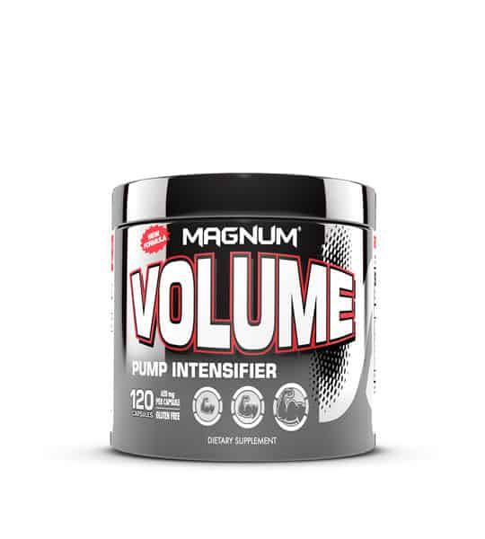 Silver and grey container with silver cap of Magnum Volume PUMP intensifier contains 120 capsules of dietary supplement