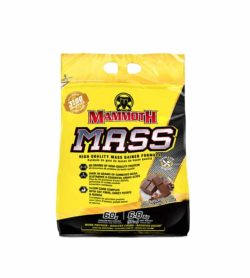 Yellow and black bag of Mammoth MASS high quality mass gainer formula contains 6.8 kg
