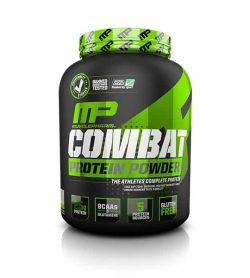 Grey and green container with green graphic cap of Musclepharm Combat Protein Power contains 4 lbs