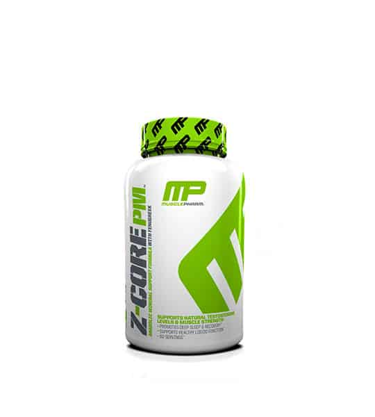 White and green container with green graphic cap of Musclepharm Z-Core PM shown in white background
