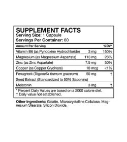 Supplement facts and ingredients panel of Musclepharm Z-core PM for serving size of 1 capsule with 60 servings per container