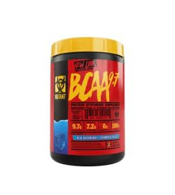 Red and black container with yellow lid of Mutant New Look BCAA 9.7 with Blue Raspberry flavour contains 90 servings