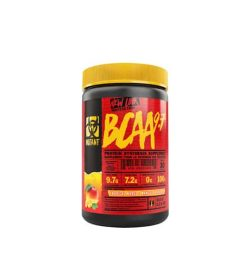Red and black container with yellow lid of Mutant New Look BCAA 9.7 contains 30 servings