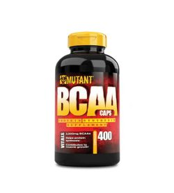 Black and red bottle with yellow cap of Mutant BCAA caps Protein Synthesis Supplement contains 400 Caps