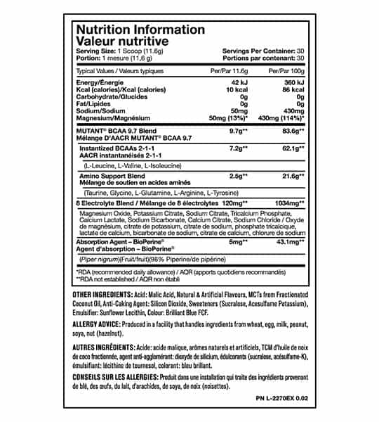 Nutrition Information and ingredient panel of Mutant BCAA-9-7 for serving size of 1 scoop (11.6 g) with 30 servings per container