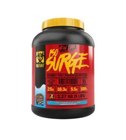 Red and black container with yellow lid of Mutant New Look ISO Surge with Cookie & Cream flavour contains 2.27 kg (5 lbs)